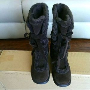 Lux Suede Fuzzy Fur Dark Brown Mid Calf Boots 8